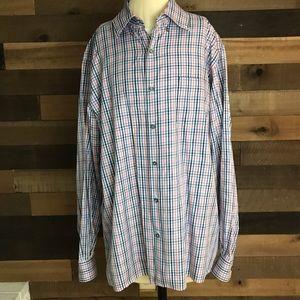 Ermenegildo zegna pink and blue dress shirt Xl